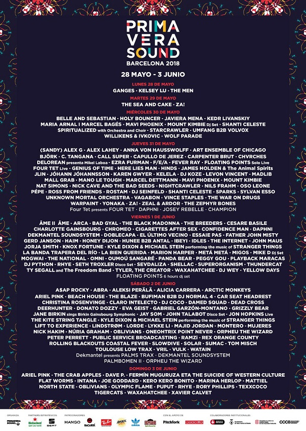Primavera Sound 2018 cartel